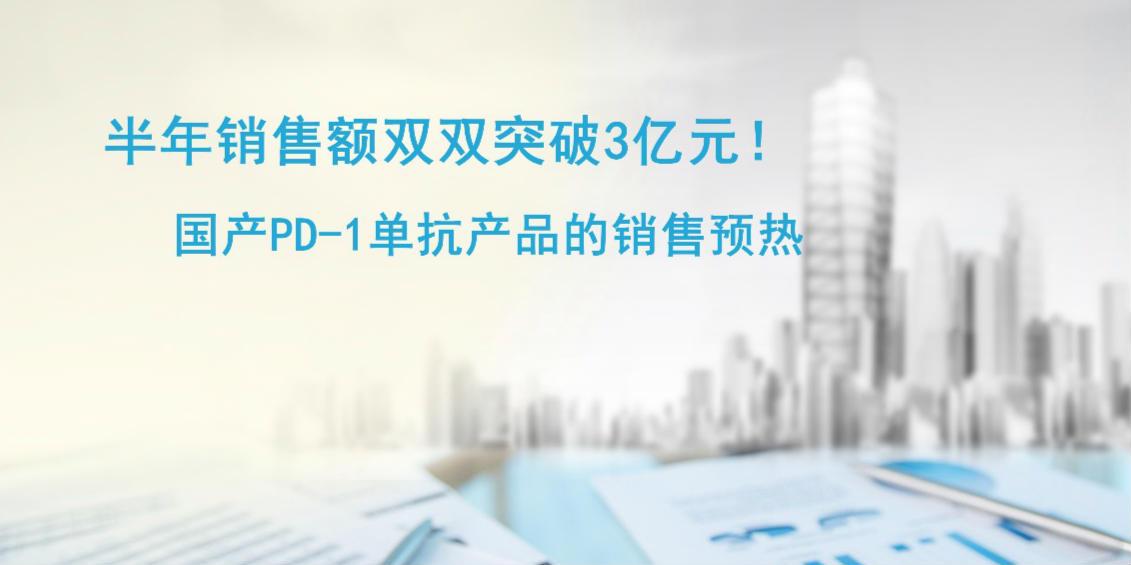 半年销售额双双突破3亿元!国产PD-1单抗产品销售预热