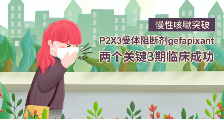 慢性咳嗽突破:P2X3受体阻断剂gefapixant两个关键3期临床成功