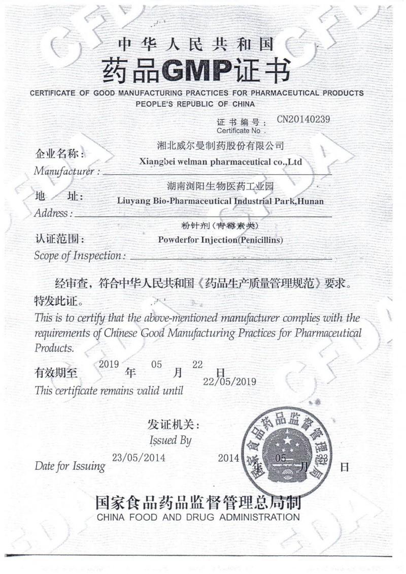 GMP证书——青霉素类粉针剂