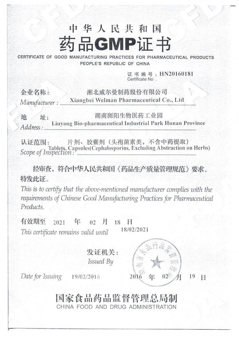 GMP证书——头孢类片剂、胶囊剂