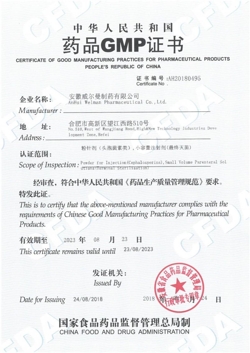 头孢粉针、小容量注射剂GMP证书