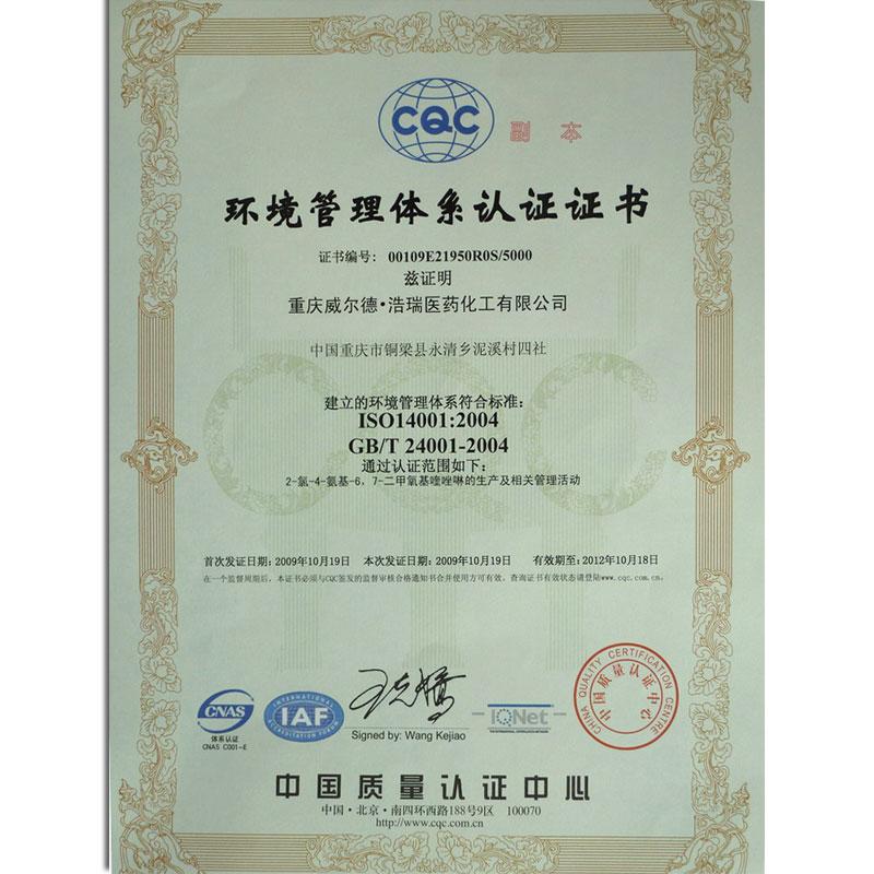 ISO14001:2004证书