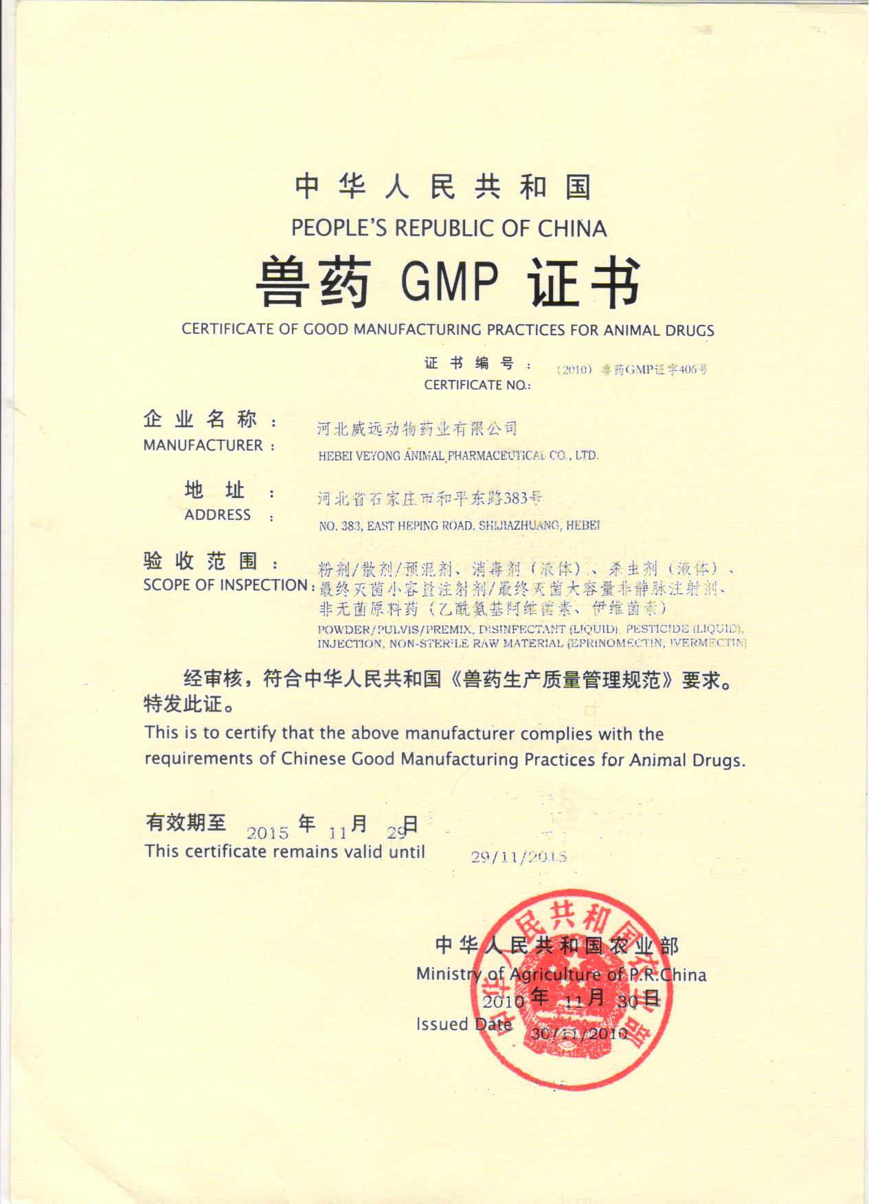 GMP新证书