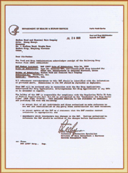 Certificate issued by America Food and Drug Admini