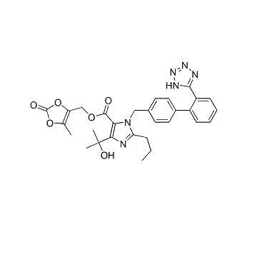 2,3-二羟基-2-丁烯基-4-(1-羟基-1-甲基乙基)-2-丙基-1-[4-(2-1H-四唑-5-苯基)苄基]咪唑-5-羧酸酯环-2,3-碳酸酯 Olmesartan medoxomil