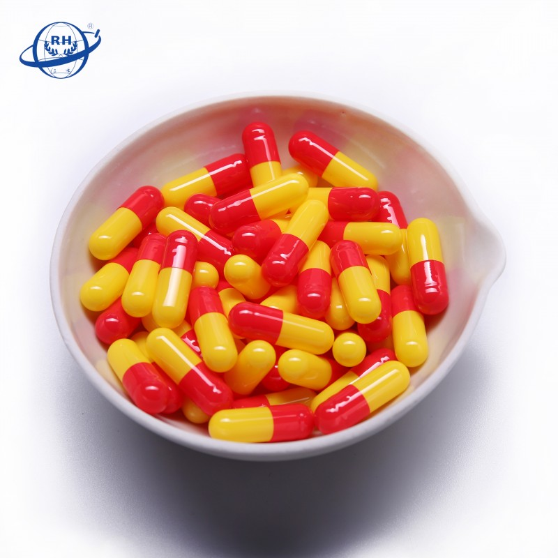 Made in China wholesale red-yellow medical empty hard gelatin capsule size 2