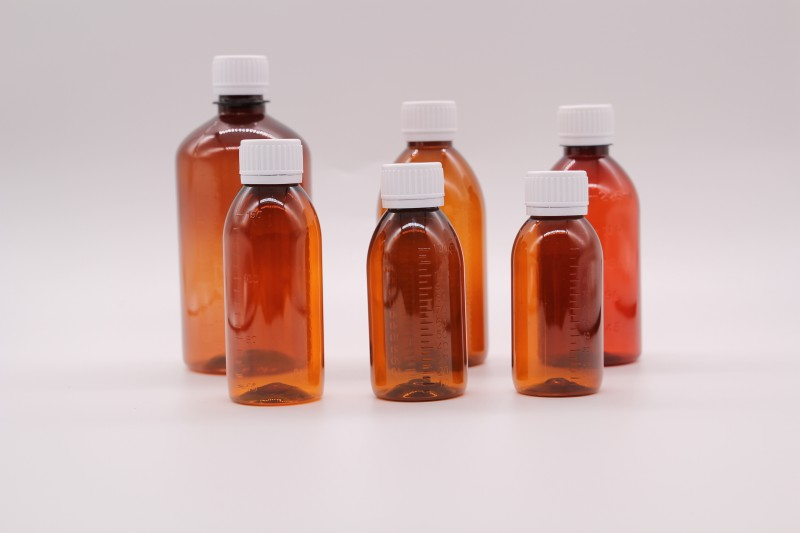 PET Amber plastic vials liquid packaging bottle
