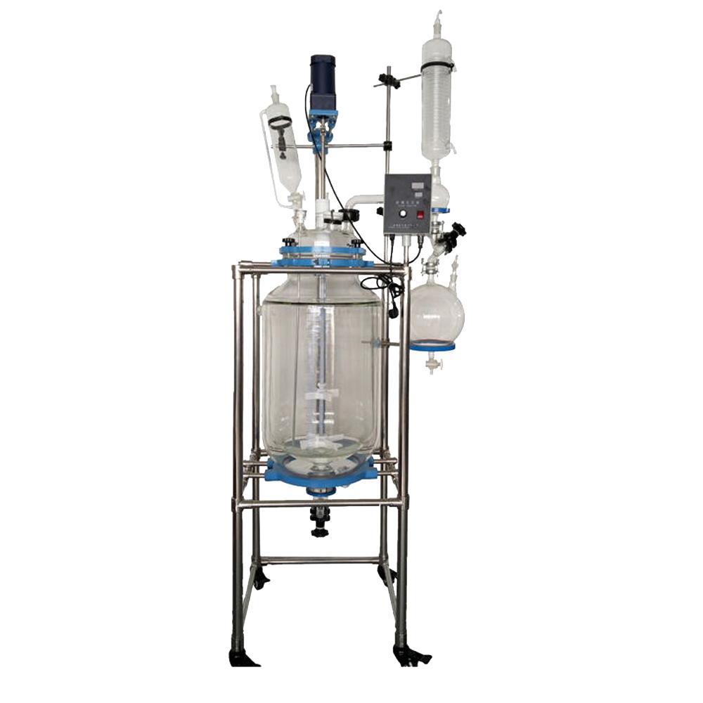 10-10L实验化工用防爆变频双层多功能搅拌反应器双层玻璃反应器