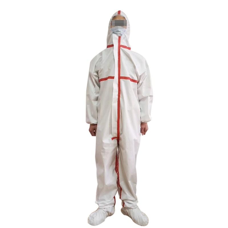 出口手续齐全非织造布一次性隔离服带压条雨衣防护服连体防护服