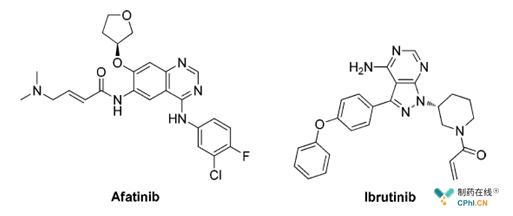 阿法替尼(afatinib)和依鲁替尼(ibrutinib)结构式
