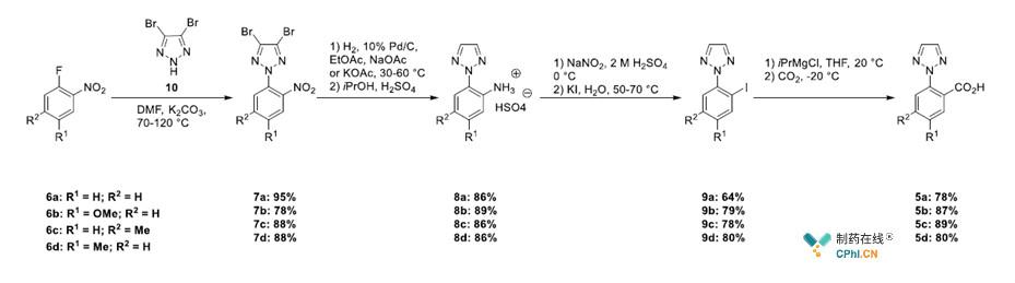 三氮唑苯甲酸5a?d的合成