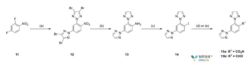 2,4位二三氮唑取代的苯甲酸15a、苯甲醛15b的合成