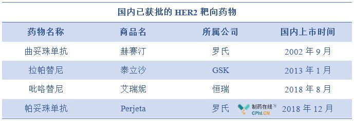 国内已获批的HER2靶向药物