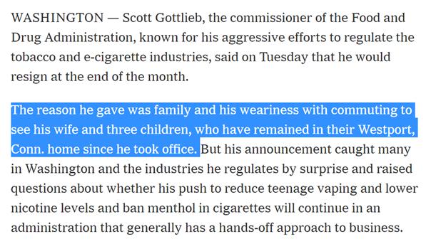 Scott Gottlieb辞职原因