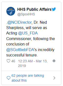 HHS confirms Sharpless to serve as acting FDA chief
