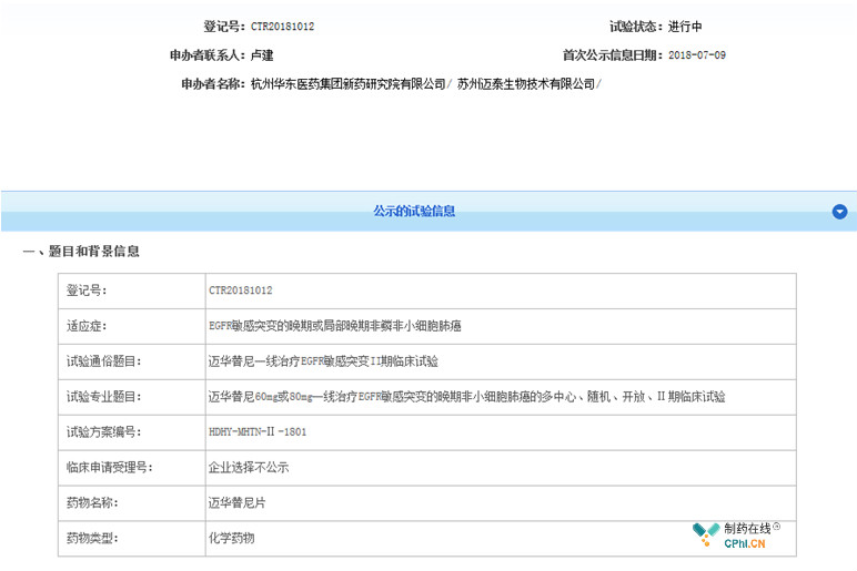 华东医药二代EGFR TKI迈华替尼也在国内积极布局