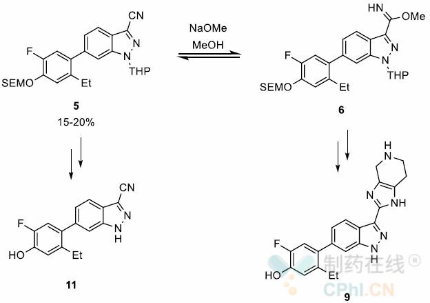 醇解及环化得到中间体6和9