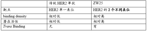 传统HER2单抗vs. ZW25