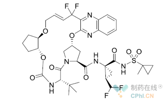 抗病毒 药物Glecaprevir结构