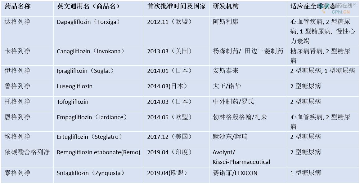 全球已经批准了多款SGLT-2抑制剂